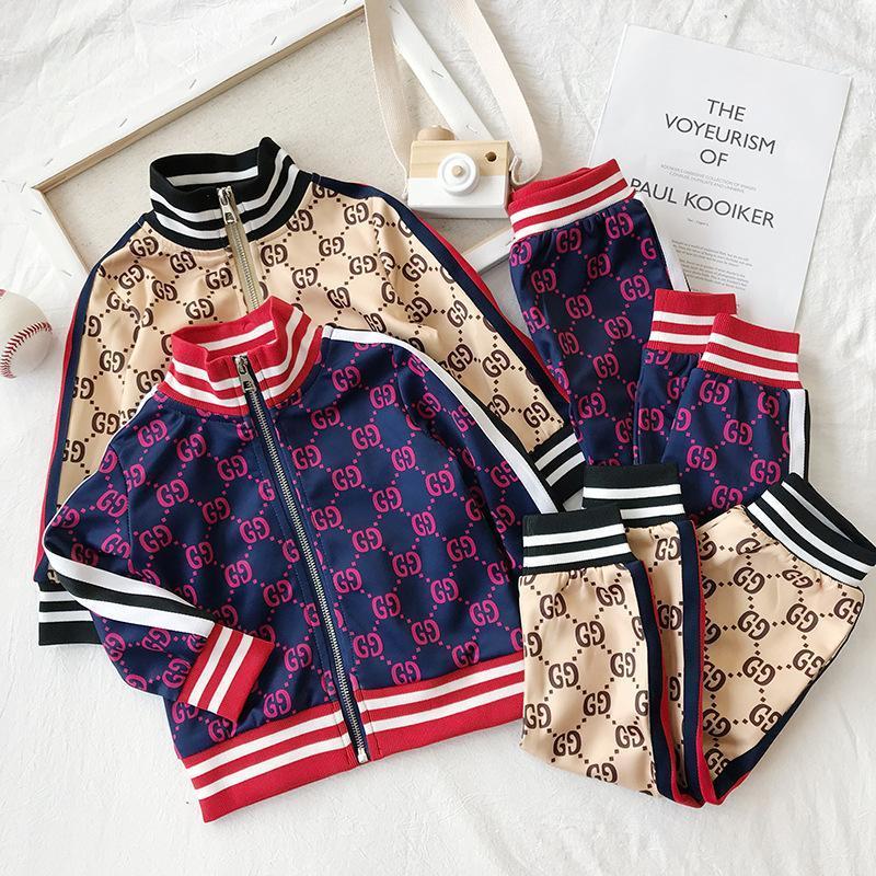 Детская одежда дизайнер мальчики девочки детские наборы 2020 новый роскошный принт спортивные костюмы письмо куртки + бегуны повседневный спортивный стиль толстовка