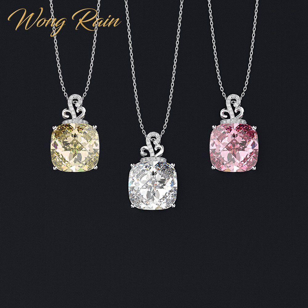 Wong Yağmur Romantik% 100 925 Gümüş düzenlendi Moisanit sitrin Safir Taş Kolye Kolye Güzel Takı Toptan CX200609