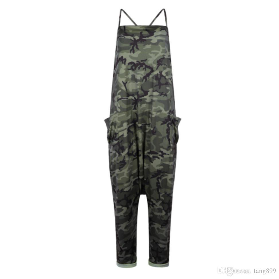 Women Nightclub Camouflage Sling Jumpsuit Strap Casual Trousers Pants Rompers Skinny Sexy Workout Gym Pants Pencil Stretch