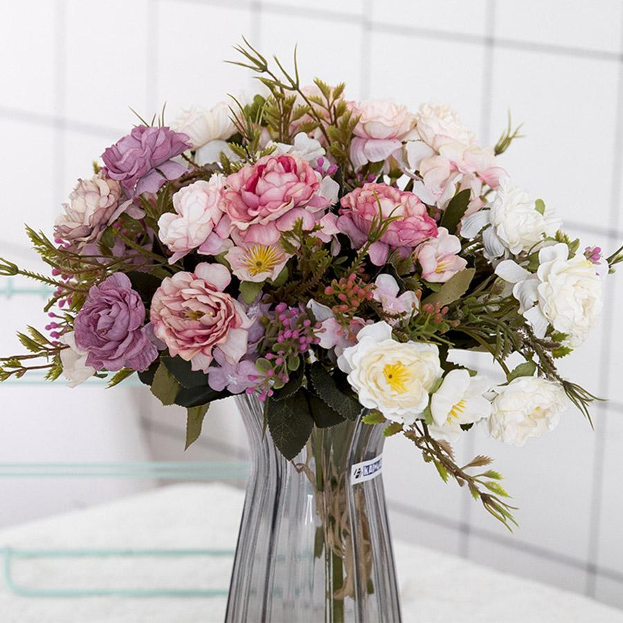 모란 DIY 파티 장식 빈티지 실크 인공 꽃 작은 장미 웨딩 가짜 꽃 축제 용품 홈 장식 꽃다발