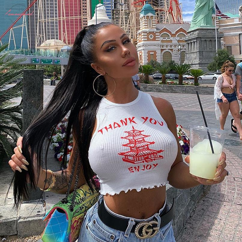 Sexy White Crop Tank Tops Women Sleeveless Bodycon Tank Top Thank You Print Vintage Female Ruffle Casual Tops Street Beach Crop Tops