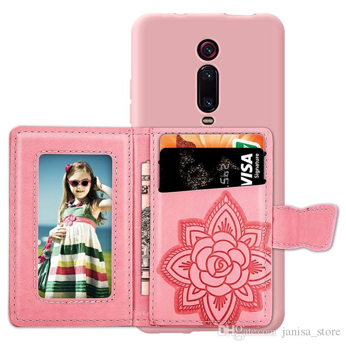 Butterfly bracket universal multi-function PU leather mobile phone back stickers credit card wallet with photo frame for Redmi K20