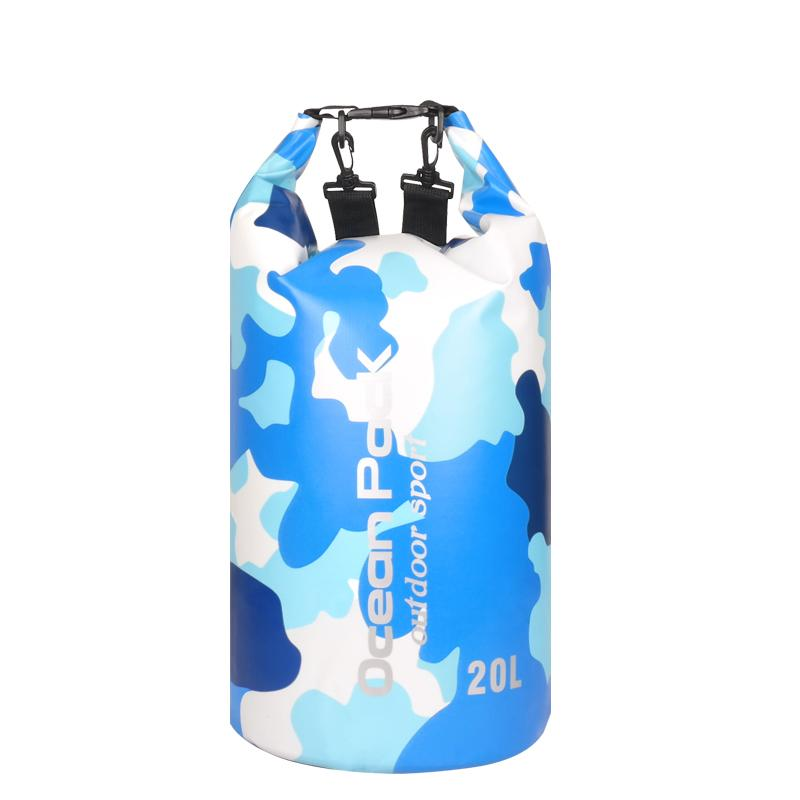 20L Camouflage Sport Outdoor Packs Dry Storage Ocean Pack Waterproof Dry Bag PVC Backpack For Running Boating Swim Camping Hiking Hunting