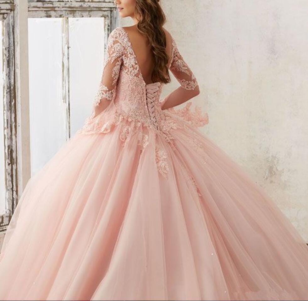2020 новый персик розовый Quinceanera платья плюс размер бальное платье с длинными рукавами кружева Золушка партия Мисс конкурс дешевые сладкие 16 выпускных платьев