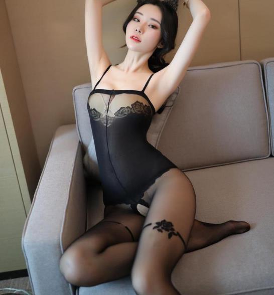 Womens calzamaglia delle calze del merletto della biancheria sexy aperta della biforcazione della Prospettiva bretella Calze ragazze Nero Fishnet Lace da notte erotica