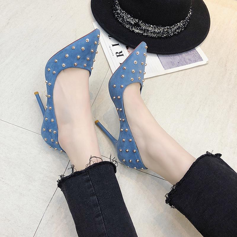 2020 Yeni Yüksek Topuklar Flock Mujer Zapatos Mujer Lüks Ayakkabı Kadınlar Femeninas W37-76 pompaları Seksi Kadın Bahar Casual Ayakkabı Sivri