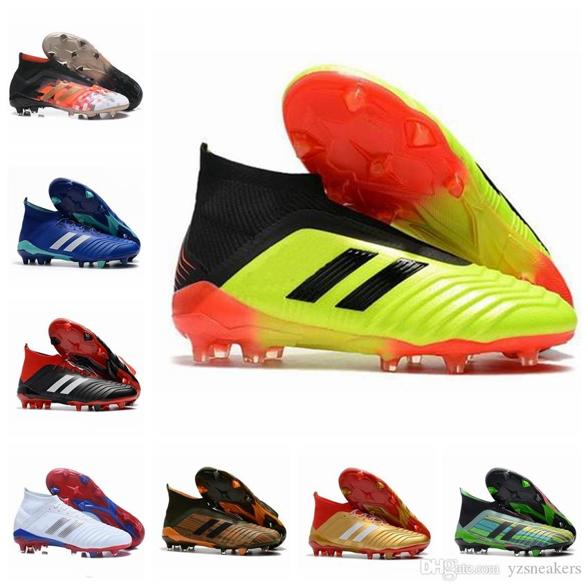 2019 2019 New Predator 18 FG PP Paul Pogba Soccer Cleats Slip On Chaussures De Football Boots Mens Predator 18+ High Top Soccer Shoes 39 45 From