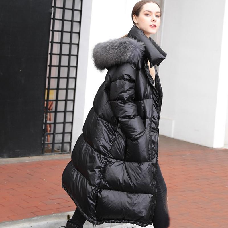 Real Natural Pele De Guaxinim 2019 Mulheres Jaqueta de Inverno Longo Pato Branco Para Baixo Jaqueta Outwear Casaco Com Capuz Solto Grosso Quente Para Baixo Parka SH190913
