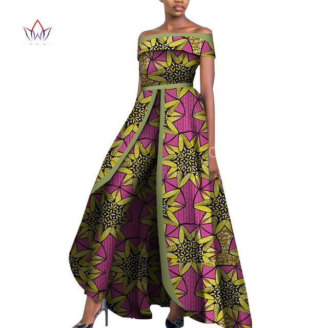 Projeto africano Bazin Alças elegante Mulheres macacãozinho Jumpsuit mangas macacãozinho Macacão Longo dashiki calças mais wy6184 Tamanho