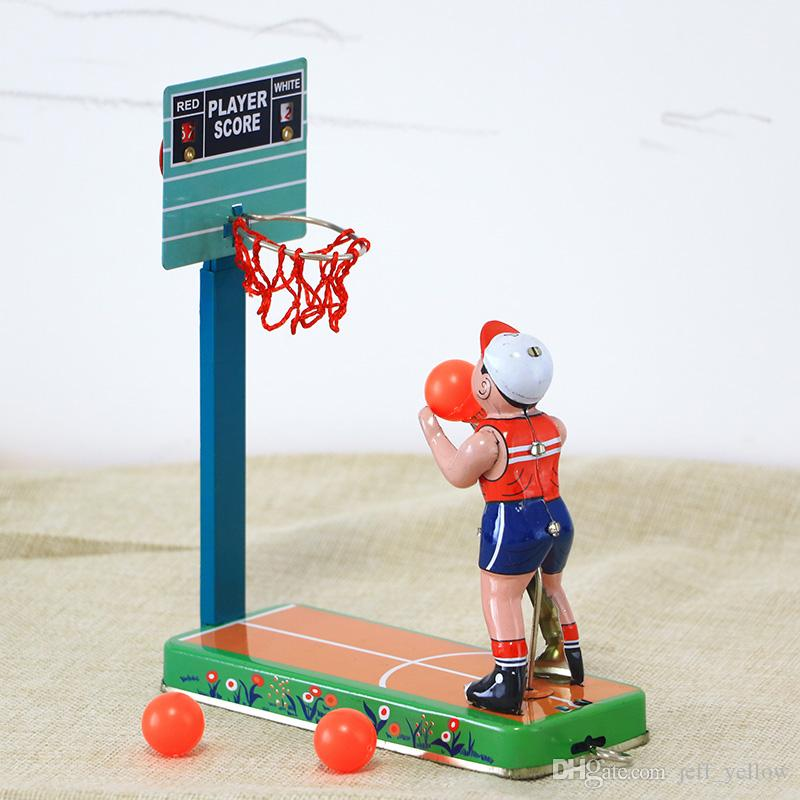 Ücretsiz kargo 80 Arka Çocukça nostaljik oyuncaklar Pencere çekim sahne Dökme basketbol manuel Demir sac oyuncak Çocukluk anıları
