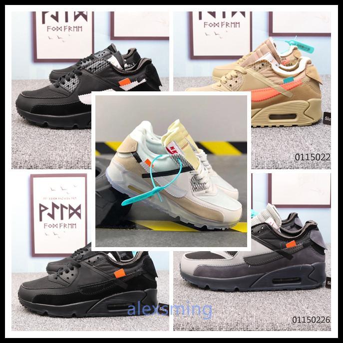 Nike Air Max 90 x Off-White 2020 Hot vendita Good Men delle donne di scarpe Presto corsa 90 x max 90 II off-W giovanile dal design di lusso all'aperto Sneakers 36-45