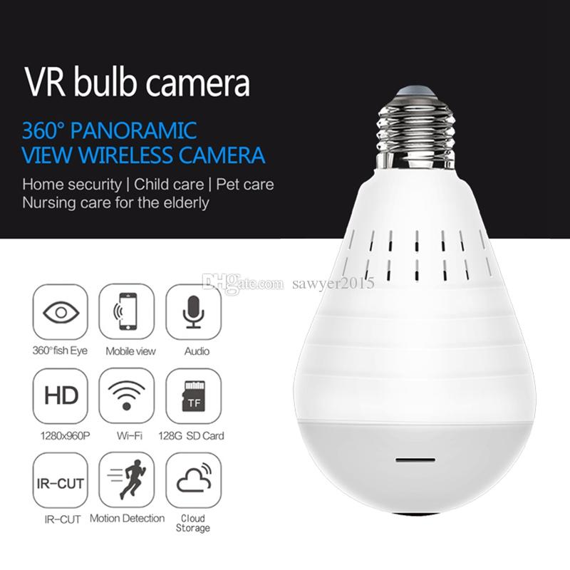 360 Degree Panoramic Bulb WIFI IP Camera HD 960P Fisheye Panoramic Bulb Lamp mini Camera Wireless Network home security camcorder