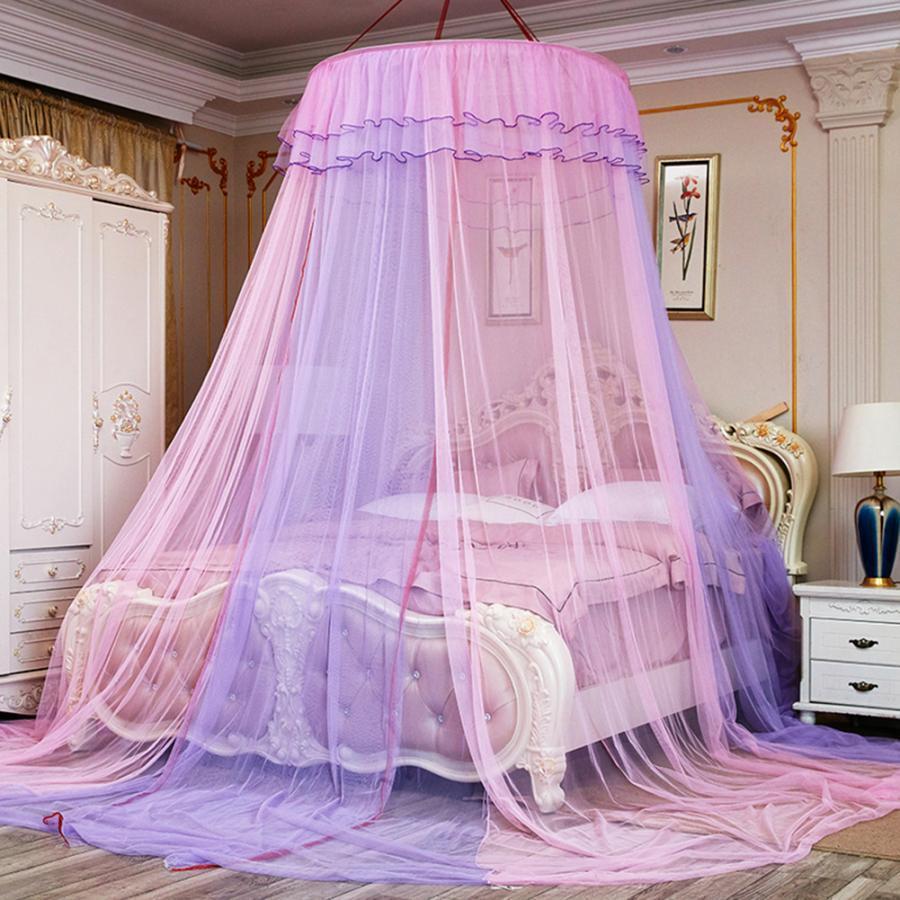 Yatakta gölgelik Çift Renkli Yuvarlak Canopy Dantel Prenses Stili Cibinlik Yatak Perde Netleştirme çocukları Yeni yataklar