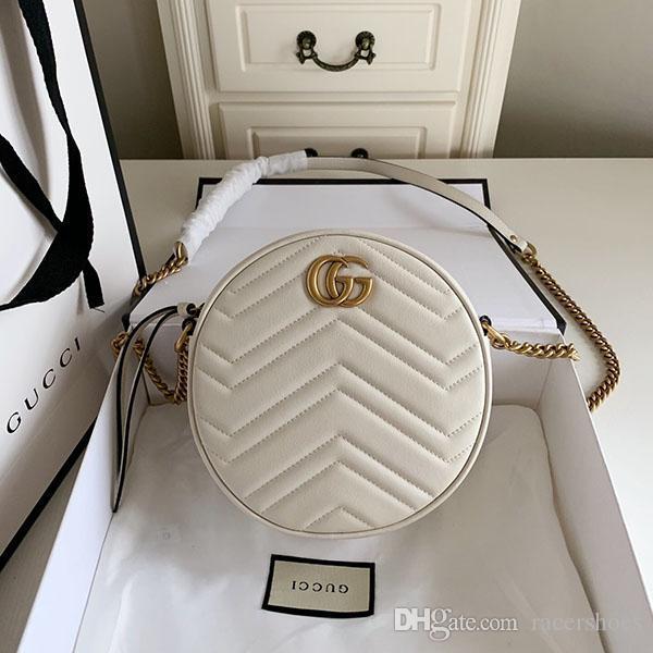 Luxus-Frauenhand diagonaler klassische Art und Weise Mini einzelner Schulterbeutel echtes Leder-Kette Tasche diagonaler Rundbeutel Freies Verschiffen