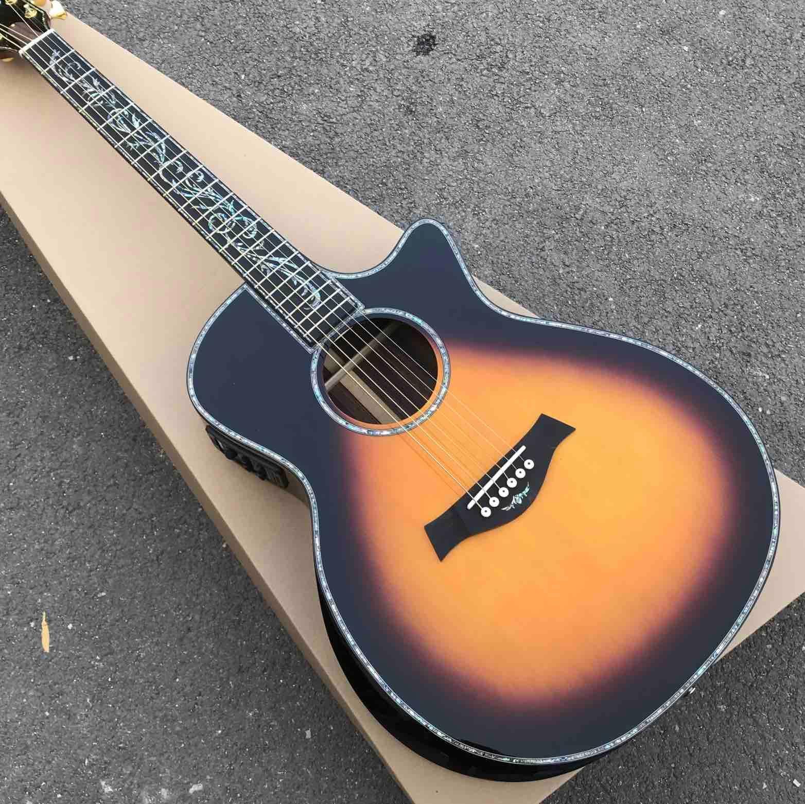 Real Abalone Cutaway 41 Zoll Massive Fichtendecke Sunburst GPS14c Klassische Akustikgitarre