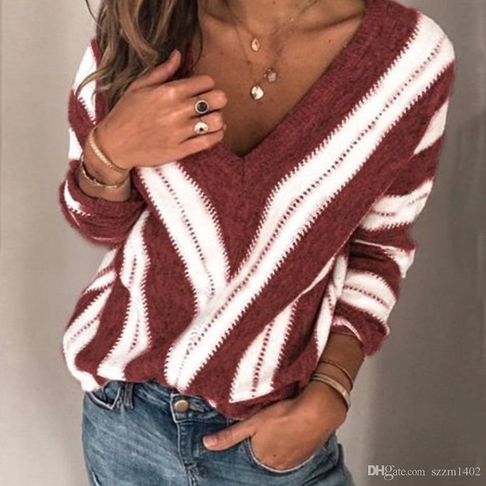 S-5XL V 넥 스웨터 스트라이프 여성 풀오버 긴 소매 와인 레드 그레이 퍼플 스웨터는 겨울 캐주얼 느슨한상의 탑