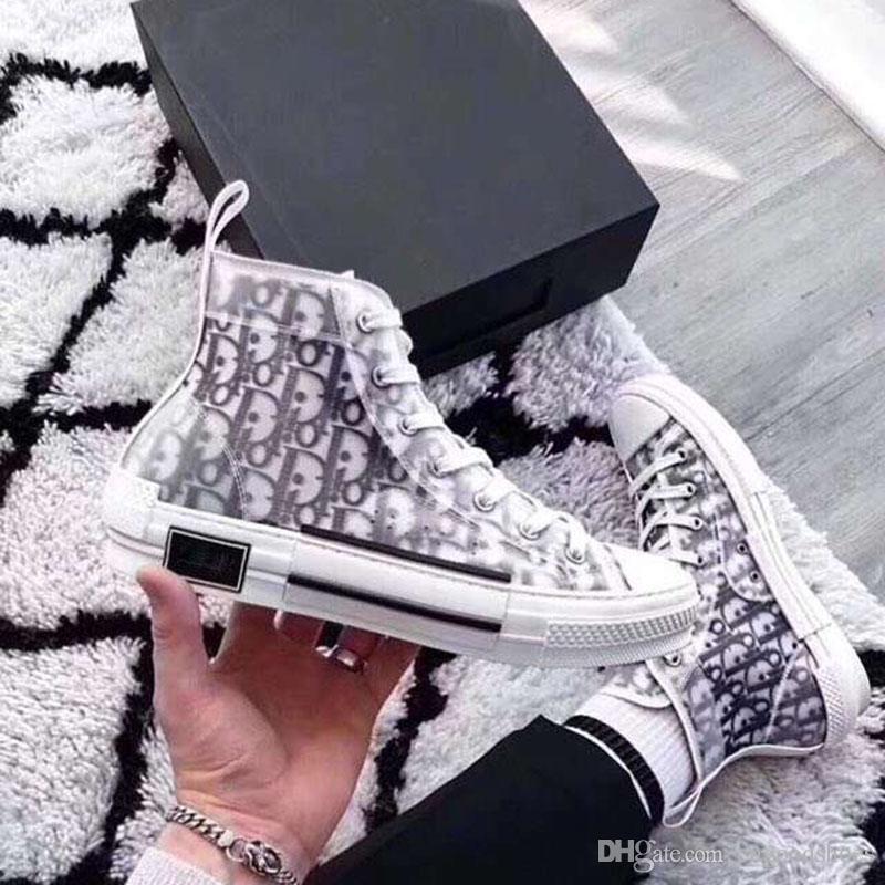 2019 Venta caliente Nuevo diseñador de lujo de la mujer que camina la zapatilla de deporte en lienzo bordado oblicuo de alta zapatilla de deporte de las mujeres con cordones bajos zapatos casuales