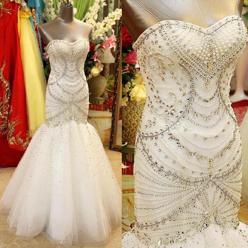 2016 Cristaux de luxe en perles de mariée sirène Robes chérie perles perles Robes de mariée étage Longueur lombo mariage Vestidos