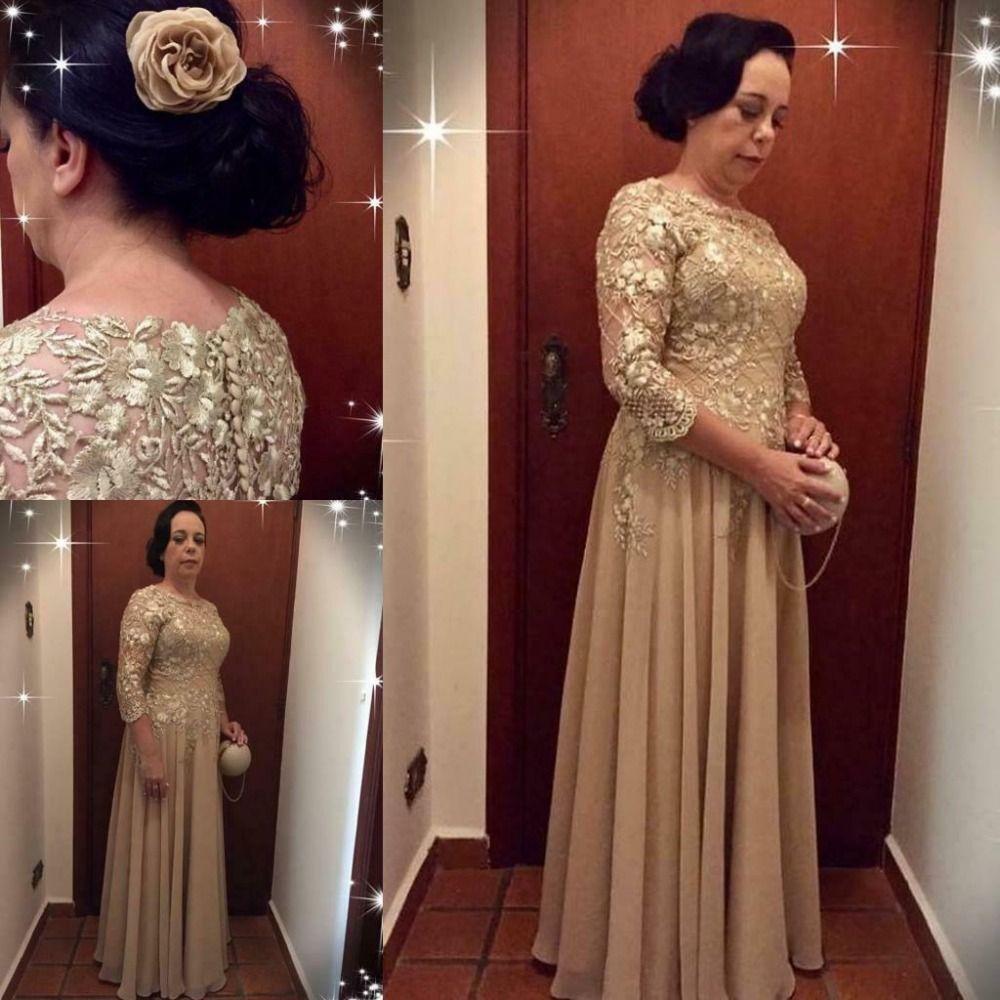 La mère de la mariée robes dentelle longueur du plancher, plus la taille de la dentelle et perlée de soirée de mariage robe de soirée robe de