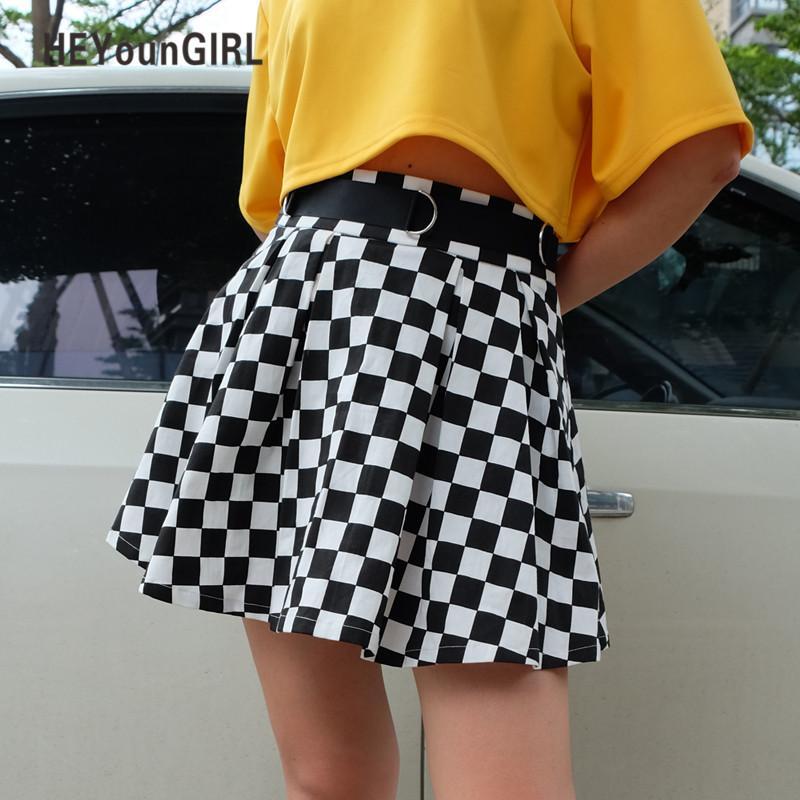 Faldas a cuadros plisadas Falda a cuadros de cintura alta para mujer Harajuku Bailando Estilo coreano Sudor Mini faldas cortas