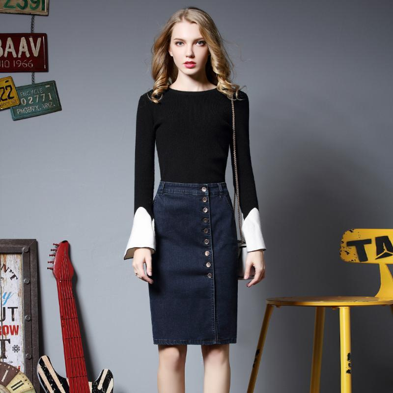 Woman Skirts Button Solid Knee-length Office Lady Female Skirts Denim Black Blue Pencil Plus Size