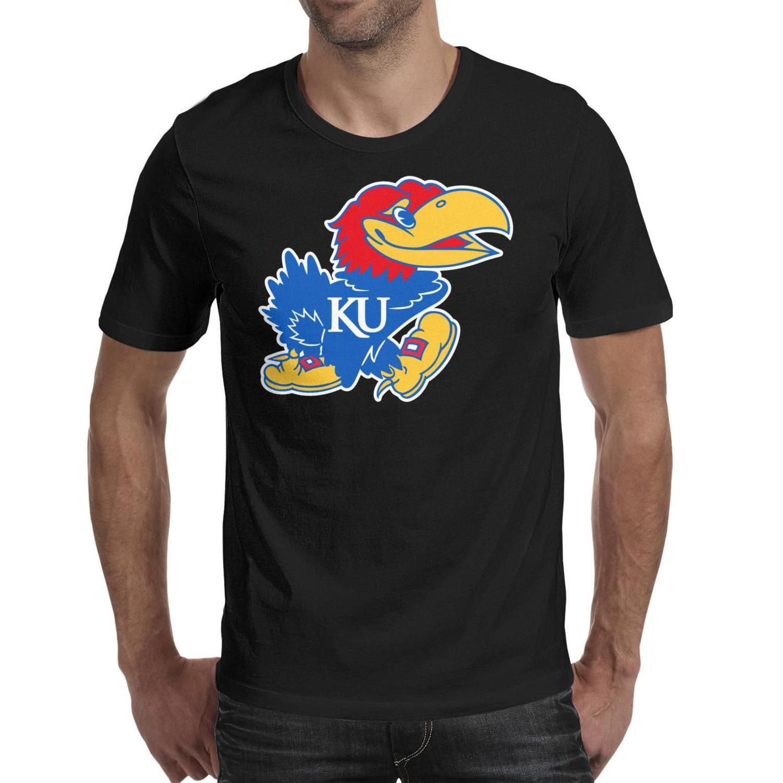 Mens stampa Kansas Jayhawks Pallacanestro logo nero t shirt Slogan trucco divertente registrare un camice americano cancro al seno vecchio Stampa rosa Stati Uniti d'America