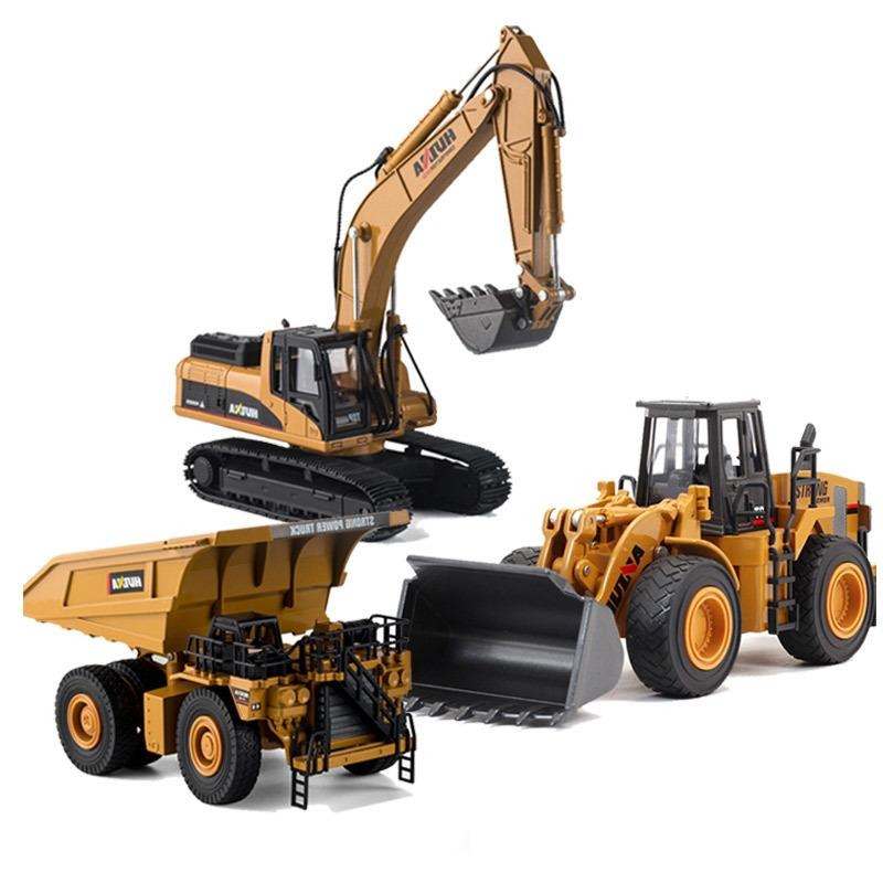HUINA 1:40 Dump Truck Excavator Wheel Loader Diecast Metal Model Construction Vehicle Toys for Boys Birthday Gift Car Collection Y200109