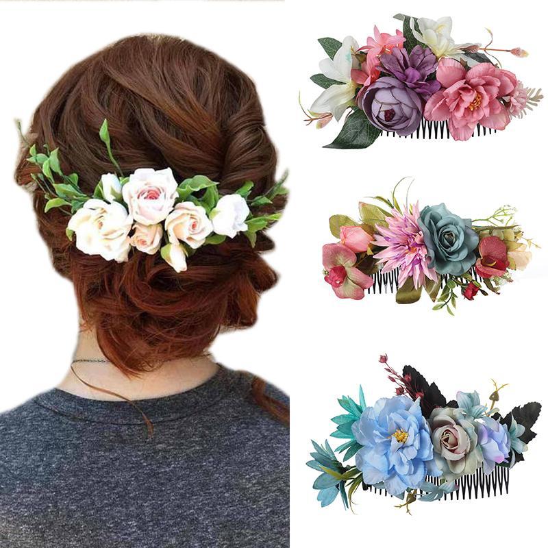 Haimeikang Nouveau mode Tête Peigne fleur artificielle tête peigne de soirée de mariage pour les femmes élégantes Coiffe festival Accessoires cheveux