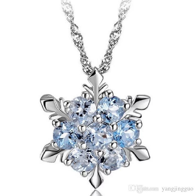 Frozen natural gem necklace silver zircon crystal snowflake necklace Christmas gift pendant 2 colors optional free delivery