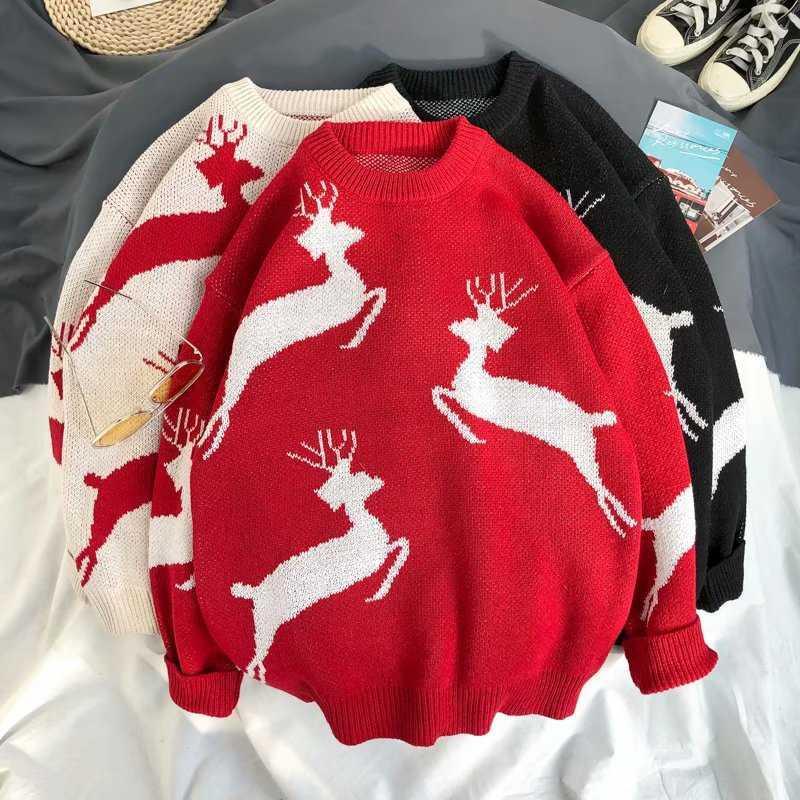 NOUVEAU Mode Printemps Automne hommes Vêtements O-cou modèle de Noël chandail étudiant coréen lâche beau pull en tricot épais