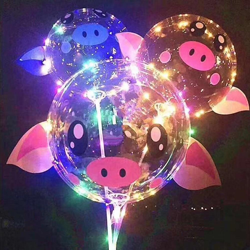2019 new 20 inch pig pig BOBO balloon LED cartoon ball 3 m LED light string balloon ball birthday wedding Christmas lights