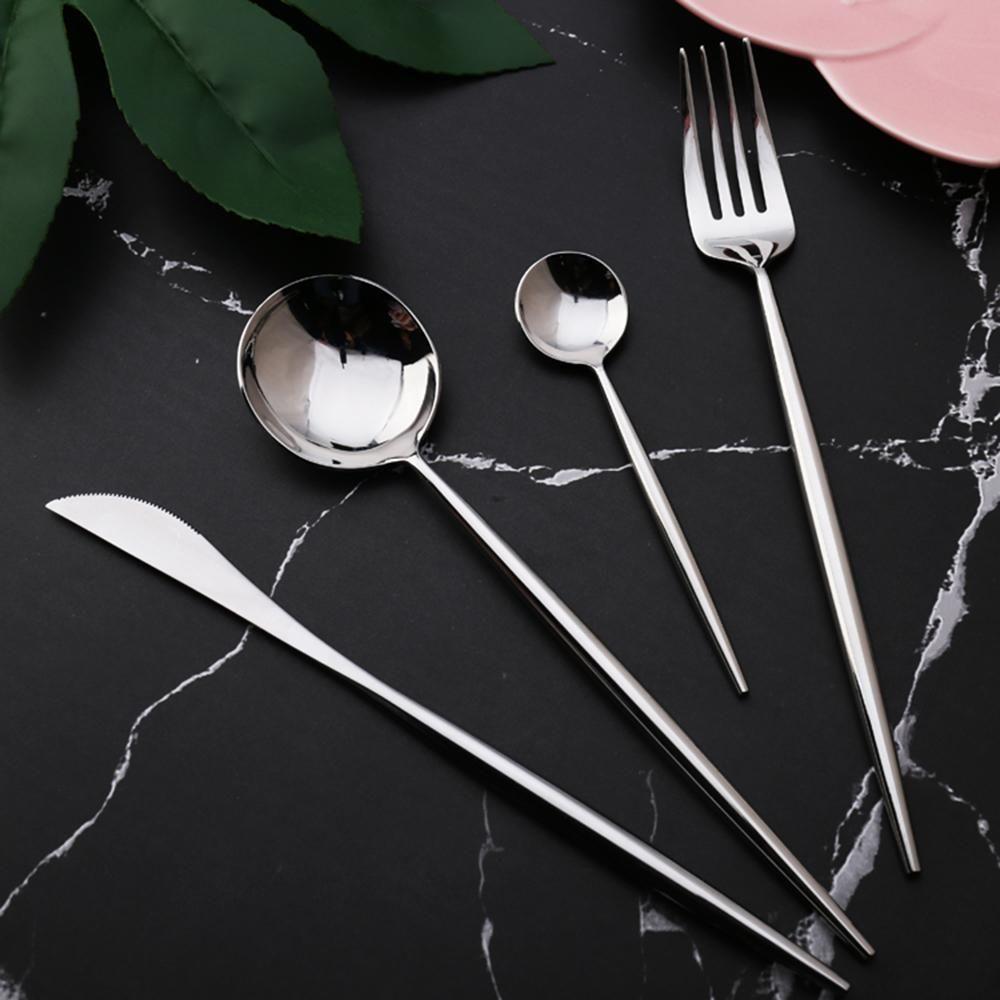 Meilleur Hot Vente 4 pièces ensemble couleur argent 304 Couverts de vaisselle Western cuisine en acier inoxydable alimentaire Vaisselle Dîner Set D19011702