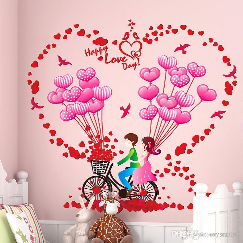 Romantic couples home decor wall stickers room decoration bike balloon wall sticker decals heart flower wall mural for Valentine's Day