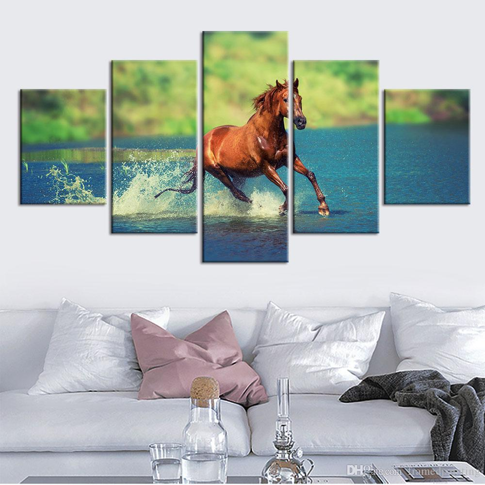 5 Piece HD Printed Unset Running Horses Canvas Painting Home Decoration Modular Wall Picture For Living Wall Art