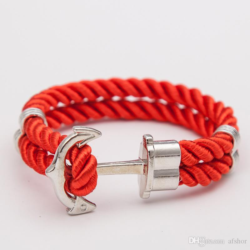 Anchor Accessories Charm Bracelets & Bangles for Womens Mens Silver Alloy Wrist Cool Fashion Hand Red Leather Rope Jewelry Female Male Gifts