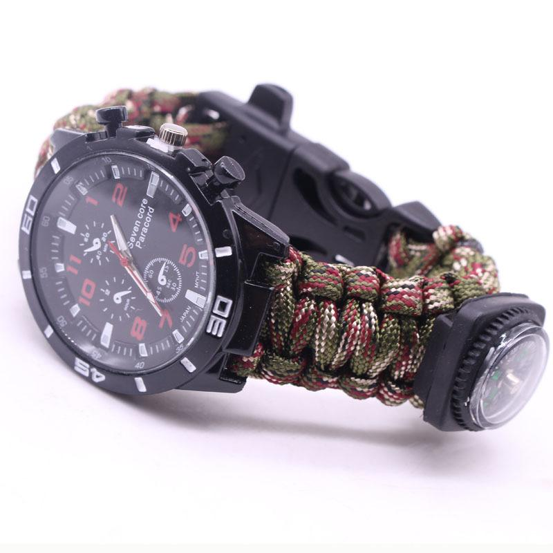EDC Multi Tools Tactical Camouflage Outdoor survival watch bracelet compass Rescue Rope paracord Camping equipment (6)