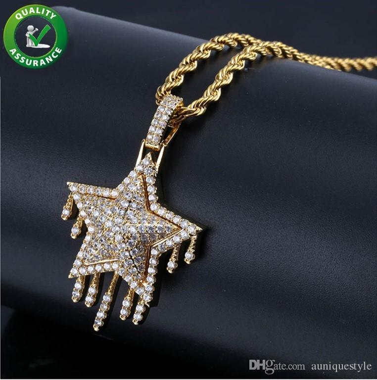 Ciondolo Iced Out Mens Hip Hop Designer Jewelry Tono oro Diamante Tassel Grande ciondolo stella di David con collana a catena cubana Donna