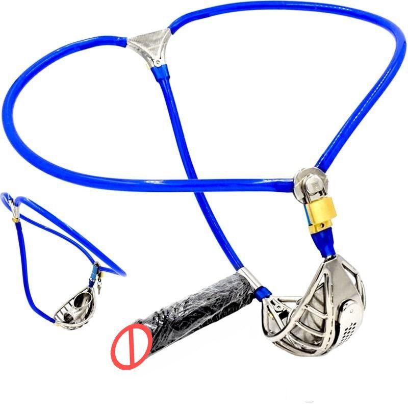 Invisibile maschio regolabile cintura di castità castità in acciaio dispositivo ventilare scrotum groove gabbia del pene spina dildo bondage adulto giocattolo del sesso