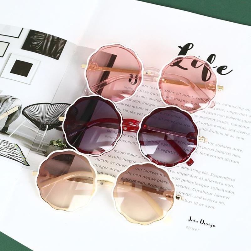 Niño lindo marco de la forma de onda de sol Niños Ronda niños Gradiente lente personalidad de la manera muchachas de los muchachos de la protección UV400 Eyewear