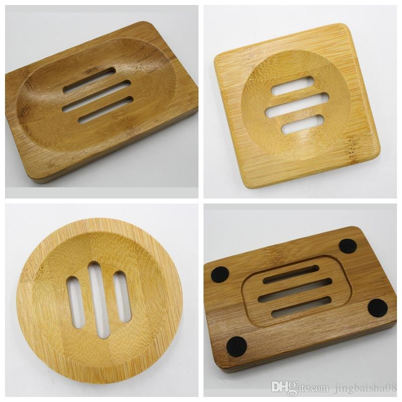 Bamboo naturale Sapone in legno Piatto di sapone in legno Porta vassoio per sapone di sapone Scatole Scatole Scaffale Piastra contenitore per bagno doccia Accessorio del bagno