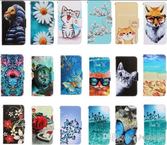 Karikatür Deri Cüzdan Kılıf için Samsung Galaxy S20 Ultra Plus A51 A71 Kedi Baykuş Çiçek Kelebek Kurt Gül Deniz Okyanus Kart Sahibi Kapak çevirin