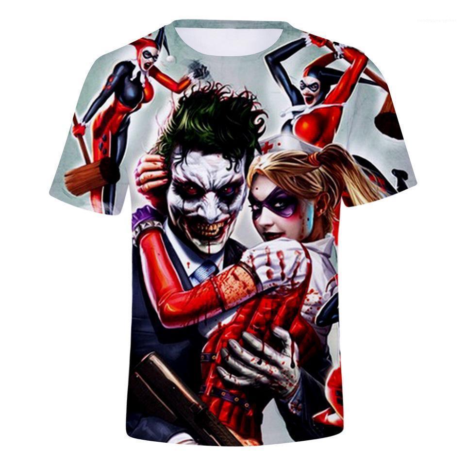 Crew Neck Casual Mens Tees 3D Clown Print Mens Designer Tops Loose Breathable Cotton Tshirt Contrast Color