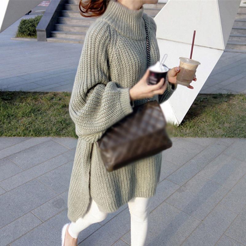 Caliente para mujer suelta vestido de cuello alto suéter tejido de puente vestidos de manga larga