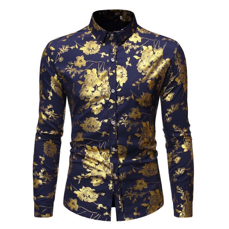 Shirt Men Brand Design Print Slim Fit Long Sleeve Shirts Mens Wedding Party Shirt Male Vintage Floral Streetwear Casual Shirts