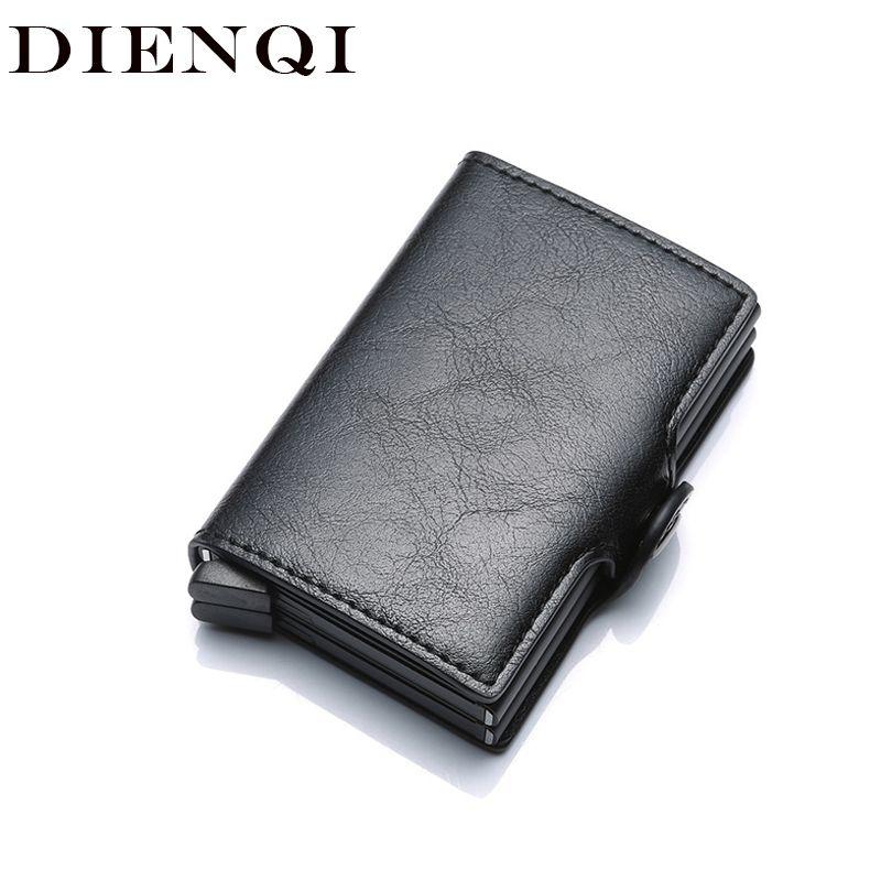 Dienqi Top Quality Wallet Men Money Bag Mini Purse Male Aluminium Rfid Card Holder Wallet Small Smart Wallet Thin Vallet Walet J190721