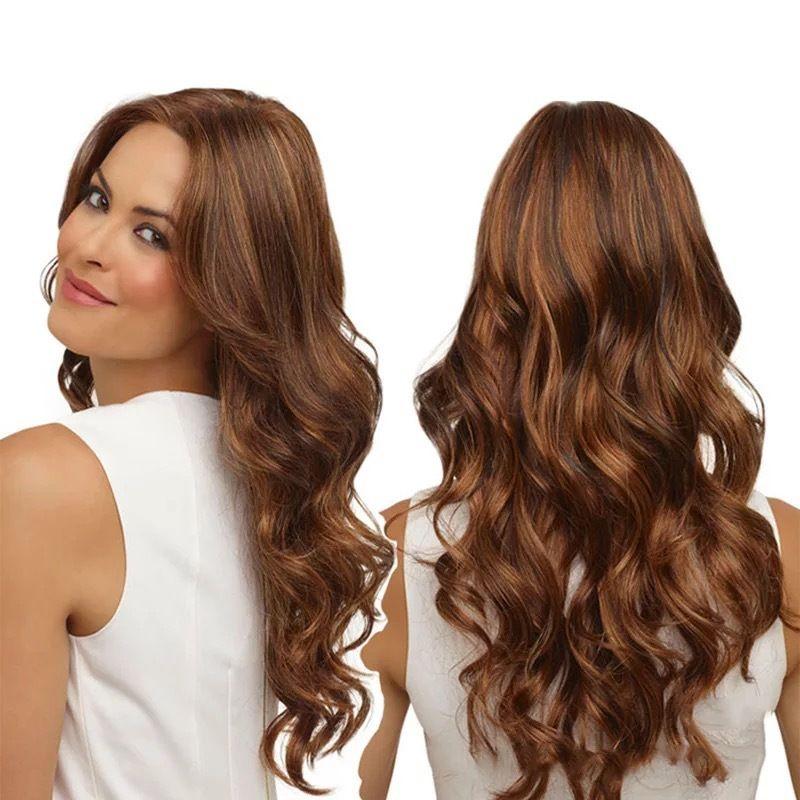 Lunghe parrucche ondulate per le donne nere parrucche sintetiche afroamericane con Bangs Le donne hanno capelli dritti, capelli ricci alla moda e facili da curare