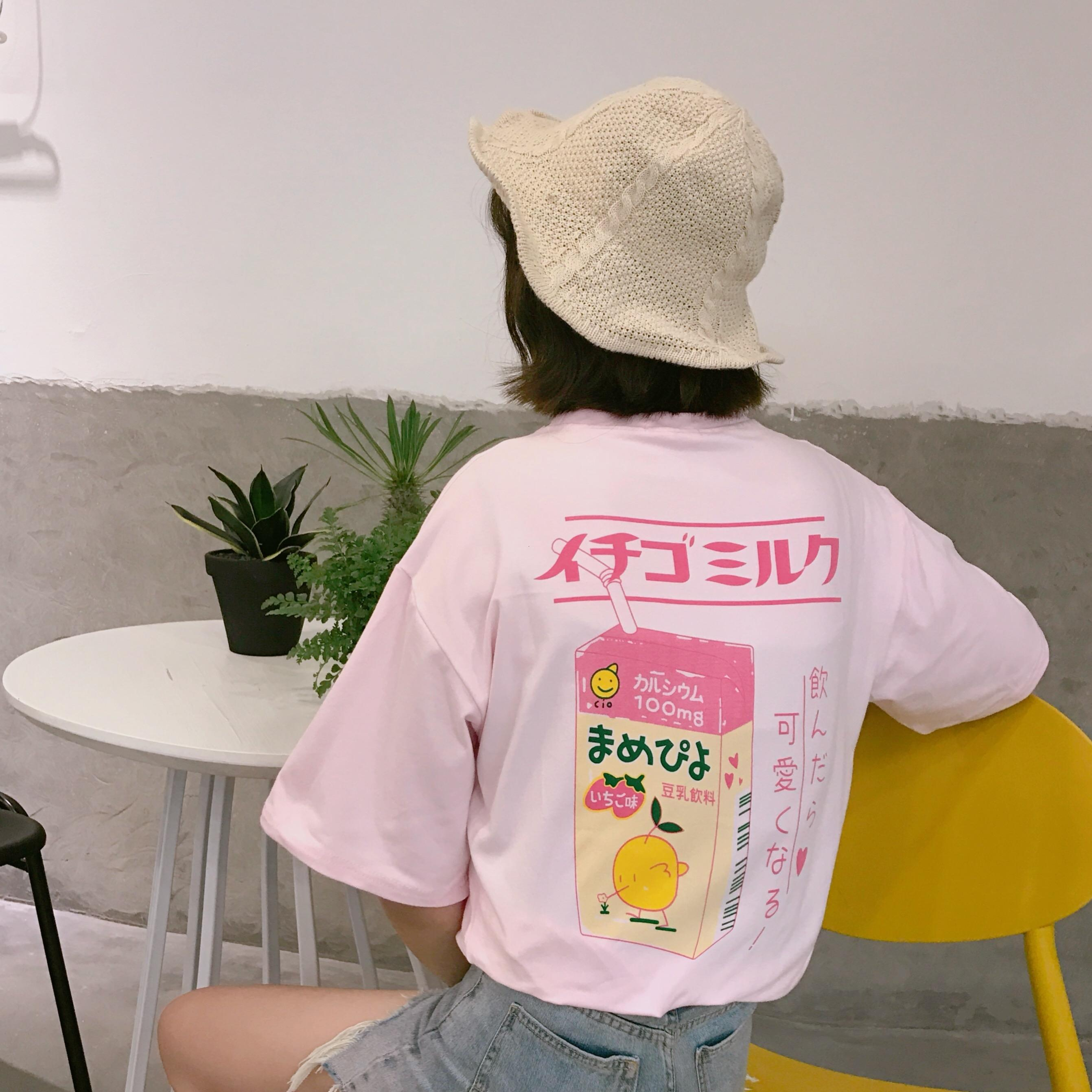 Le donne del progettista magliette delle donne supera Preppy Style manica corta T-shirt di cotone morbido sveglio girocollo estive Lettera giapponese Drop Shipping