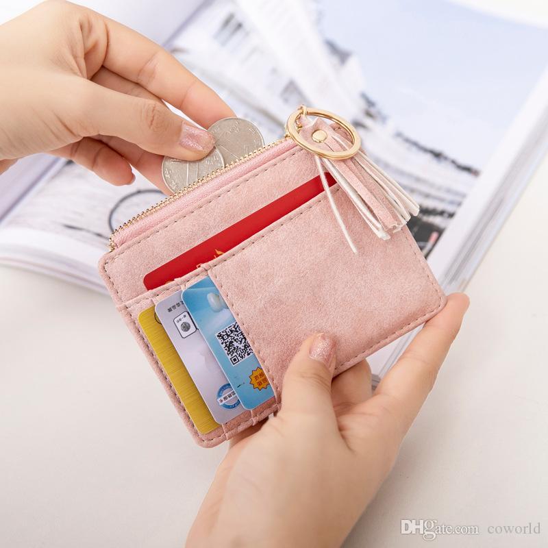 النساء rfid حظر بو الجلود محفظة بطاقة حامل المنظم بنات صغيرة لطيف عملة محفظة مع معرف نافذة