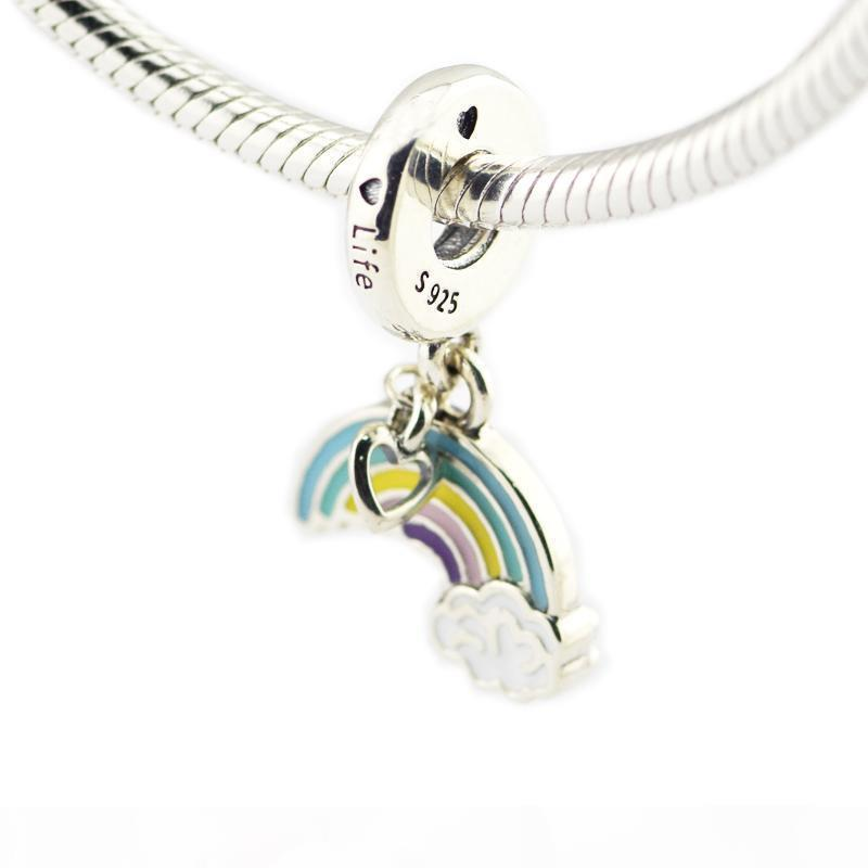 2018 Primavera 925 joyería de plata esterlina del arco iris del amor del encanto, encantos Ename mezcló los granos de las mujeres Fits original joyería que hace pulseras Pandora