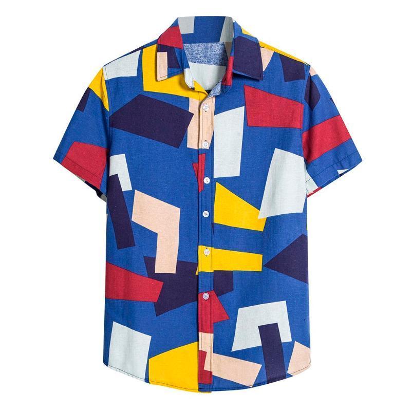 Novo Design Verão Plus Size Homens de algodão de linho de manga curta Casual impresso Camisa Havaiana blusa Casual turn-down camisas gola